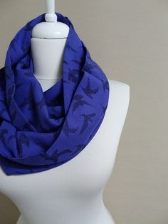 Bird pattern Infinity scarf Sax Blue Circle scarf by Aslidesign