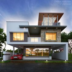 Modern_House_Exterior_Elevation By: Sagar Morkhade (Vdraw Architecture) 8793196382 Bungalow House Design, House Front Design, Modern House Design, Design Exterior, House Paint Exterior, Stucco Exterior, Modern Exterior, Morden House, House Elevation