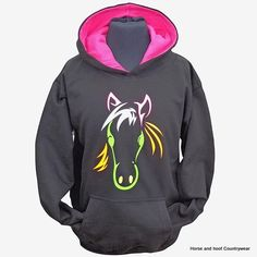 Horses with Attitude Psychedelic Horse Hoodie Black Hoodie with a pink contrasting inner hood and psychedelic colours outlining a horse head The
