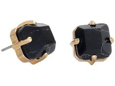Classic and conservative, like diamond studs-only with big, tough black marble stones.