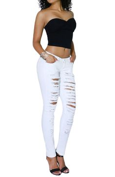 Women's Fashion Comfort Casual Ripped Denim Skinny Jean Full Length Collection (SIZE : 7, WHITE-HP2409)