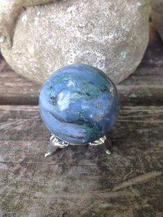 Moss Agate crystal sphere with stand  infused by DFInspirations