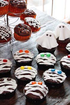 Low-Fat Chocolate Mummy Cupcakes #halloween #halloweentreats | Skinnytaste