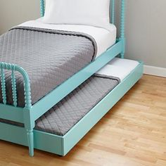 The Land of Nod | Kids Trundles: Light Blue Storage Trundle in All New. Would love this for both girls eventually. Trundle would help with guests or sleepovers.