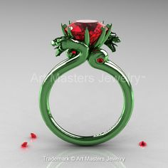 Art Masters 14K Green Gold 3.0 Ct Rubies Military Dragon Engagement Ring R601-14KGGR