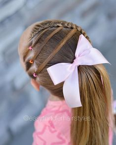 This style is an all around adorable one! It would definitely make my top 10 if I had to make a list. I've had it saved ever since I saw… Cute Toddler Hairstyles, Girly Hairstyles, Braided Hairstyles, Kids Hairstyle, Hair Dos For Kids, Diy For Kids, Hair Ribbons, Braid Styles, Hair Hacks