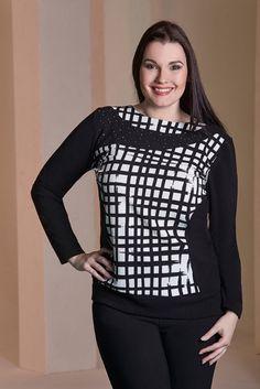 Maglia donna tombolino bianco e nero lady xl 0588 taglie forti l xl xxl 3xl 4xl