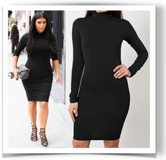Kim Kardashian was seen in this Cotton Spandex Jersey Turtleneck Black Dress from American Apparel, $44 USD.