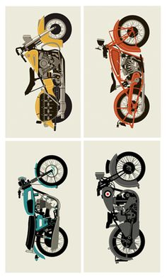 VINTAGE MOTORCYCLE SET « Limited Edition Art Posters « Methane Studios