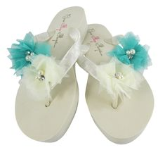 White & Aqua Blue Tulle Flower Wedge Bridal Flip Flops- Pearl & Rhinestone - Wedding -Satin Flip Flops
