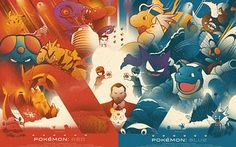 Good Lookin': Stylized Pokemon Red And Blue Posters Pokemon Images, Pokemon Pictures, Video Game Posters, Video Games, Film Posters, Pokemon Red Blue, Pokemon Poster, Nintendo, Fanart