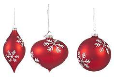 "One Kings Lane - 'Tis the Season - 4"" Snowflake Ornaments, Asst. of 3, Red"