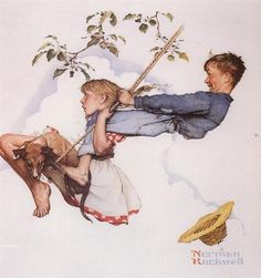 Boy Girl Swing by Norman Rockwell - Canvas Wall Decor Norman Rockwell Prints, Norman Rockwell Paintings, Illustrator, American Artists, Poster, Painting & Drawing, Artist Painting, Vintage Art, Illustration Art