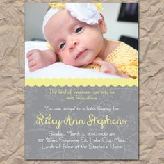 Baby Blessing / Christening Invitation - Yellow & Gray - Digital / Printable file