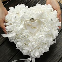 Yosoo 15x13cm White Romantic Rose Wedding Ring Box Rose Heart Favors Wedding Ring Pillow with Elegant Satin Flora Jewelry Case Wedding Accessories, http://www.amazon.com/dp/B013OII1O6/ref=cm_sw_r_pi_awdm_lc-6vb0DAHDR3