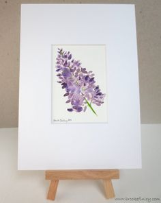 Watercolor Lilacs, Floral Artwork, Lavender and Green, ACEO Art Print, Matted Print, Original Watercolor, Purple Lilac, by Brooke Finley on Etsy, $12.00