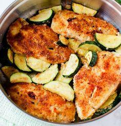 Pan Fried Parmesan Chicken & Garlic Zucchini