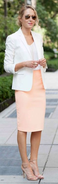 White blazer, blouse, peach Pencil Skirt. Elegant formal work business women fashion outfit clothing style apparel @roressclothes closet ideas
