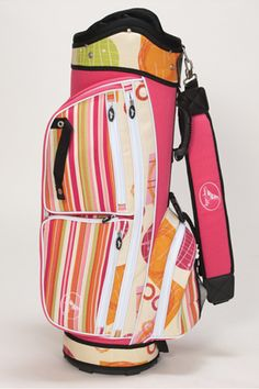 SlamGlam - Sassy Caddy Sunny Golf Cart Bag.  The Sunny golf bag collection features a bright pink, orange and lime green stripe along with a geometric pattern in the same cheerful colors. Sassy Caddy, Inc. fabrics are made in the United States and are designed to defy all weather conditions.