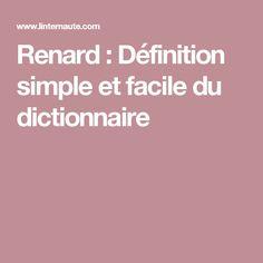 Renard : Définition simple et facile du dictionnaire