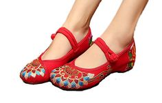 AmazonSmile | AvaCostume Women's Buddhism Totem Embroidery Casual Mary Jane Shoes | Oxfords