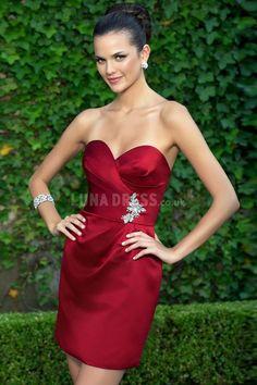 Taffeta Bridesmaid Dress,  Short Bridesmaid Dress, red bridesmaid dress