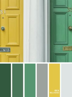 Color inspiration : Green and yellow color palette color combination Color inspiratio Green Color Pallete, Color Schemes Colour Palettes, Green Color Schemes, Green Palette, Colour Combinations Interior, Yellow Color Combinations, Pantone Verde, Pantone Green, Painted Furniture