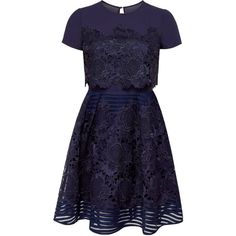 Ted Baker Limie Lace Detail Dress, Dark Blue ($215) ❤ liked on Polyvore featuring dresses, vestidos, sleeved maxi dress, blue dress, floral fit-and-flare dresses, long-sleeve midi dresses and long-sleeve mini dress