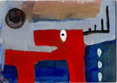 while rudolph may have been a freak, he did not (as the story goes) have a red nose e9Art ACEO Abstract Outsider Folk Art Brut Painting