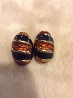 Vintage Gold Black And Red Earrings #1103