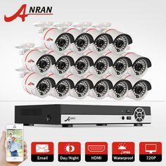 New ANRAN 16CH 1080N HDMI DVR Outdoor Surveillance System Video Recorder 16PCS AHD 720P 1800TVL IR Home Security Camera CCTV Kit