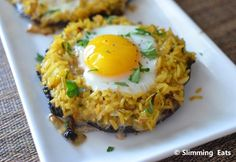 Baked Stuffed Portobello Mushrooms with Egg | Slimming Eats - Slimming World Recipes