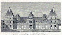 Antique print Paris Luxembourg Palace 1845 gravure palais