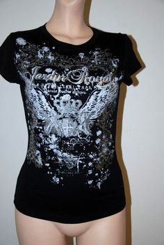 BLACK SILVER FOIL FITTED STRETCHY PRINT ROYAL WINGS CROWN M BABY T-SHIRT TOP NEW #shopjaded #GraphicTee