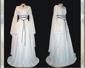 Sale - Medieval/Renaissance White Satin Trumpet Sleeve Costume Gown, with Sheer Trumpet Sleeve, Custom made to order.