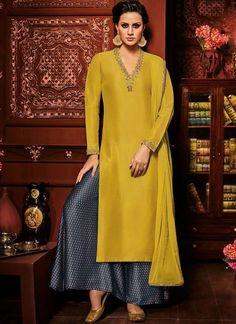 mustard yellow solid & navy blue palazzo salwar suit