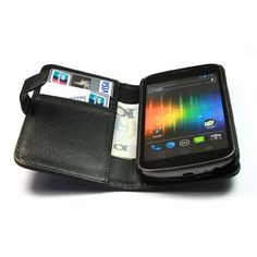 Amazon.com: Wallet Litchi Leather Flip Case Cover for Samsung Galaxy Nexus I9250 Black: Cell Phones & Accessories