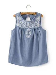 Women elegant embroidery sleeveless denim shirts back hollow out o neck blouses ladies summer street wear casual tops Elin Kling, Sleeveless Denim Shirts, Streetwear Summer, Printed Denim, Fashion Now, Embroidered Blouse, Casual Tops, Blouses For Women, Women's Blouses