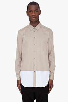 3.1 Phillip Lim Beige Front Panel Combo Shirt for men | SSENSE