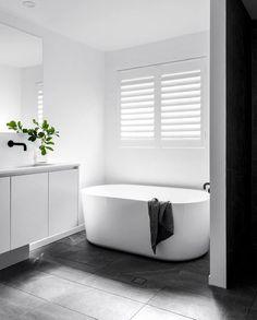 Free standing bath for ensuite. Vanity needs a bit more presence- ? Laundry In Bathroom, Bathroom Renos, Bathroom Renovations, Bathroom Ideas, Bathroom Inspo, Bathroom Organization, Bathroom Storage, Shower Ideas, Grey Bathrooms