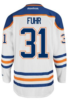 d7da25324 Edmonton Oilers VINTAGE Grant FUHR  31 Official Away Reebok Premier Replica NHL  Hockey Jersey (