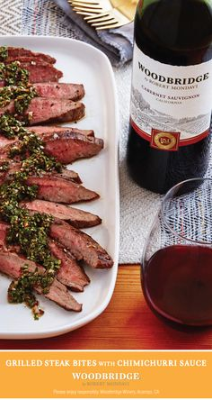 Bring the heat to your next cookout with Grilled Steak Bites with Chimichurri Sauce and a bottle of Woodbridge by Robert Mondavi Cabernet Sauvignon. Click through for the recipe. Beef Recipes, Cooking Recipes, Healthy Recipes, Mexican Recipes, Recipies, Antipasto, Brunch, Good Food, Yummy Food