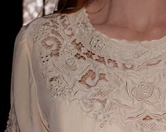 Vintage Silk Cutwork Lace Blouse Hand Embroidered in Cream Medium to Large. $37.00, via Etsy.
