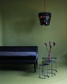 Horsehair fabric lampshade and sofa by Ochre, London