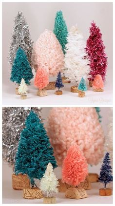 Handmade Bottle Brush Trees with Yarn, Twine, Garland, and Rope