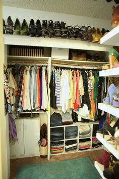 How to Organize & Style Your Closet | Use a curtain rod to hang heels high off the floor. Organize clothes by type (sweaters, button ups, pants, silk blouses, etc.), then by color, then by sleeve length.