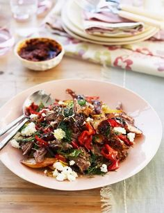 Slow-roast lamb with feta, peppers and dill. An easy but tender lamb dish for Valentine's Day.