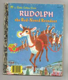 "Vintage Golden Book ""Rudolph the Red Nosed Reindeer"" by Barbara Shook Hazen 1990"