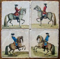 Horses French Equestrian 1727 Coasters by CoastersDiFresco on Etsy, $39.00
