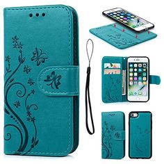 From 5.99:iPhone 7 Case Pincenti iPhone 7 Wallet Case PU Embossed Butterfly Flower Leather Detachable Wallet with Card Holder and ID Slot Cover for iPhone 7 4.7 Inch (Blue)